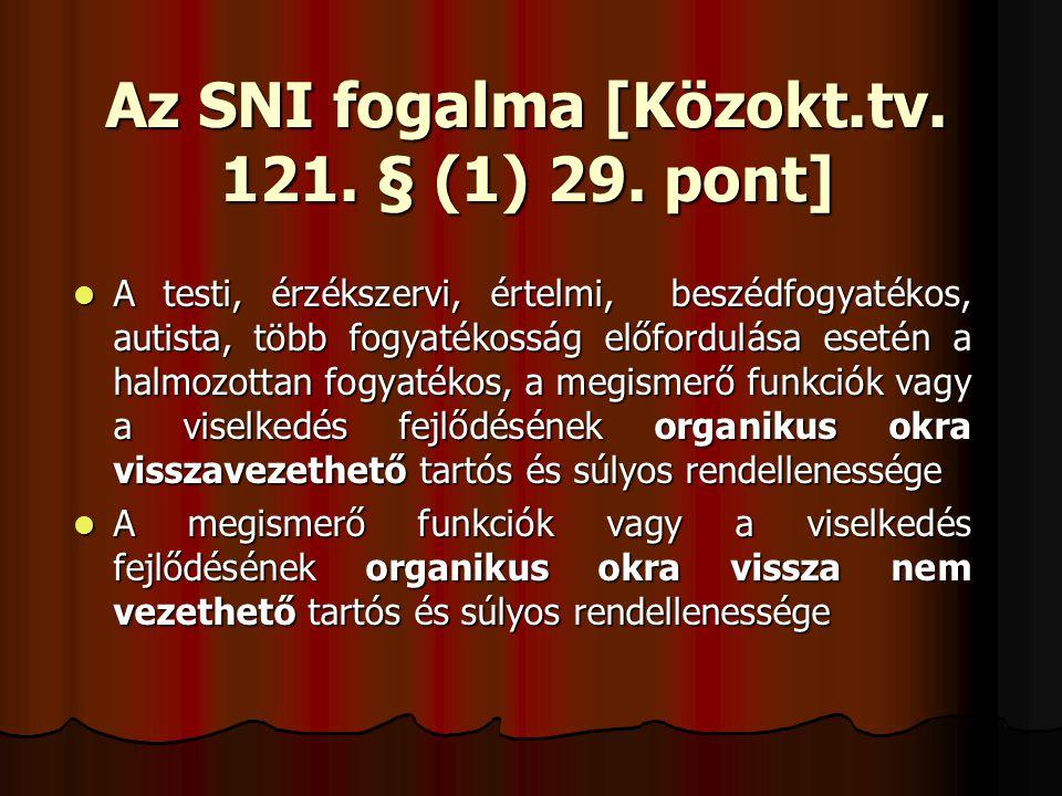 Az SNI fogalma [Közokt.tv. 121. § (1) 29. pont]